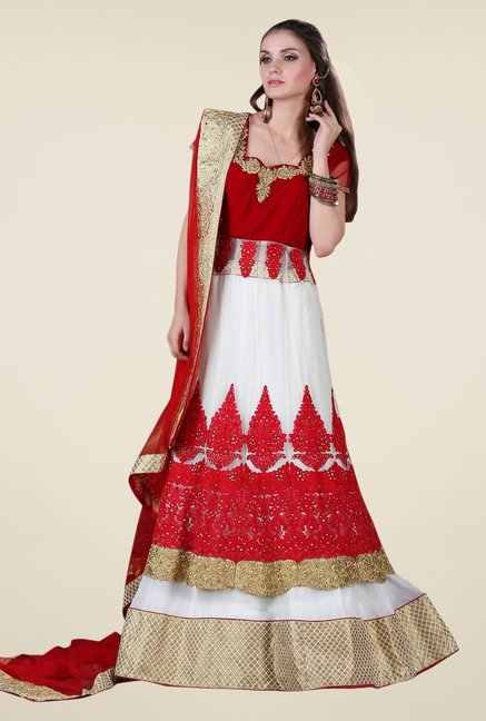 Occeanus Red & White Embroidered Net Designer Lehenga Set