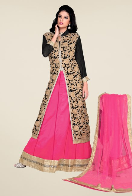 Occeanus Black & Pink Embroidered Net Designer Lehenga Set