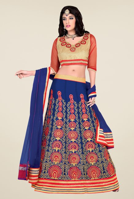 Occeanus Beige & Navy Embroidered Net Lehenga Set
