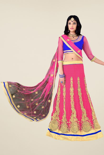 Occeanus Royal Blue & Pink Net Designer Lehenga Set