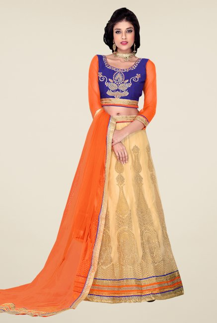 Occeanus Blue & Beige Embroidered Net Designer Lehenga Set