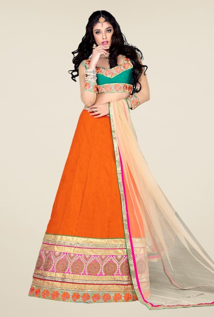 Occeanus Teal & Orange Embroidered Net Designer Lehenga Set