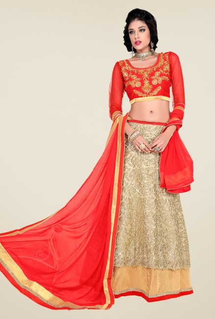 Occeanus Red & Beige Embroidered Georgette Lehenga Set