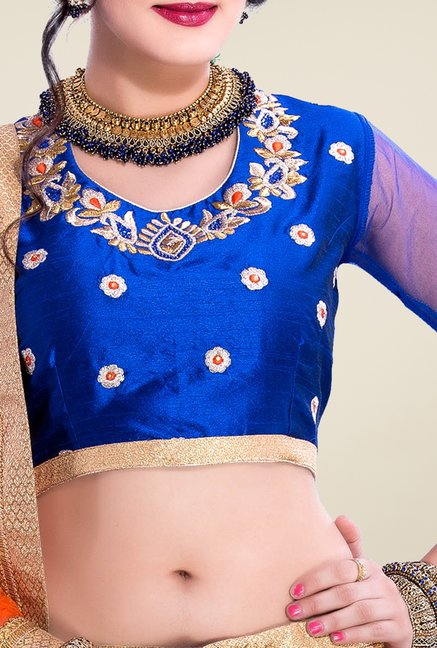 Occeanus Blue Embroidered Net Designer Lehenga Set