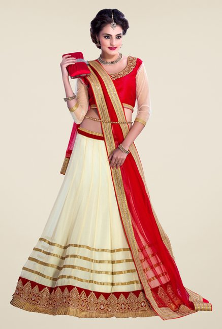 Occeanus Red & Off White Embroidered Net Lehenga Set