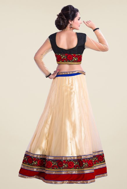 Occeanus Navy & Beige Embroidered Net Lehenga Set