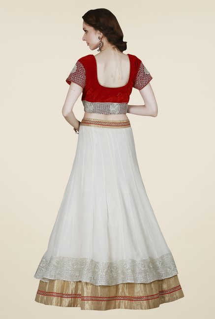 Occeanus Red & White Embroidered Net Lehenga Set
