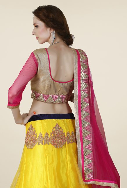 Occeanus Gold & Yellow Net Lehenga Set