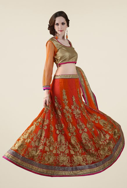 Occeanus Gold & Orange Embellished Net Lehenga Set