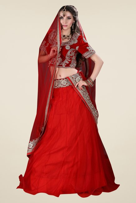 Occeanus Red Embroidered Net Designer Lehenga Set