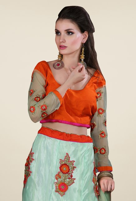 Occeanus Orange & Turquoise Embroidered Net Lehenga Set