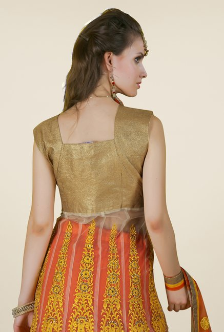 Occeanus Gold & Orange Embroidered Net Lehenga Set