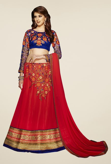 Occeanus Blue & Red Embroidered Georgette Lehenga Set
