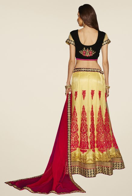 Occeanus Black & Beige Embroidered Net Designer Lehenga Set