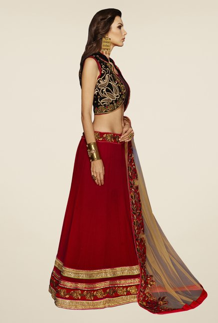 Occeanus Black & Maroon Embroidered Georgette Lehenga Set
