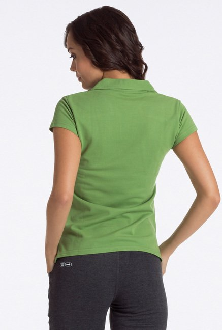 PrettySecrets Green Solid Polo T Shirt