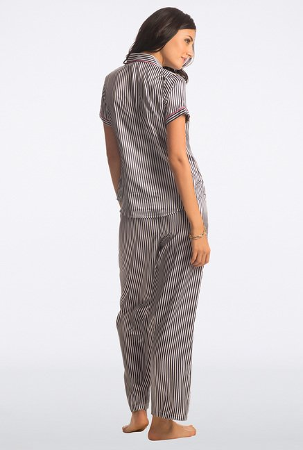 PrettySecrets Black Pin Striped Pyjama Set