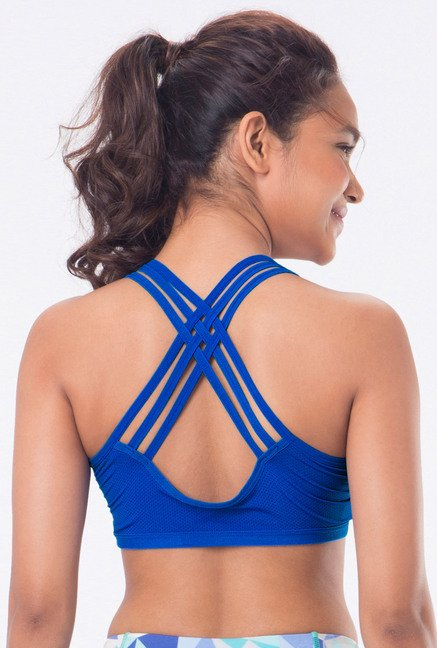 PrettySecrets Blue Padded Sports Bra