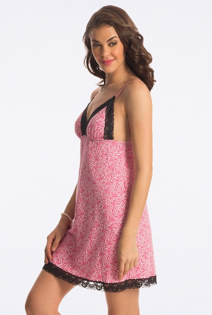 PrettySecrets Pink Floral Print Baby Doll