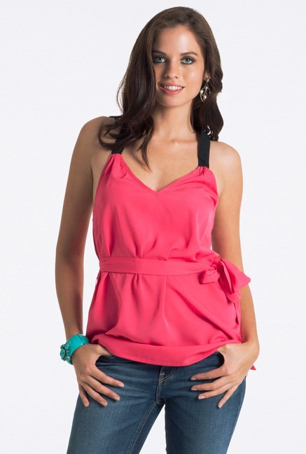 PrettySecrets Pink Solid V Neck Top