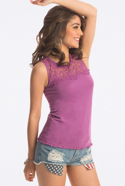 PrettySecrets Purple Lace Cotton Top