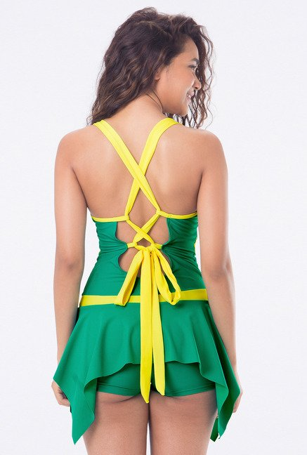 PrettySecrets Green Skirted Solid Swimsuit