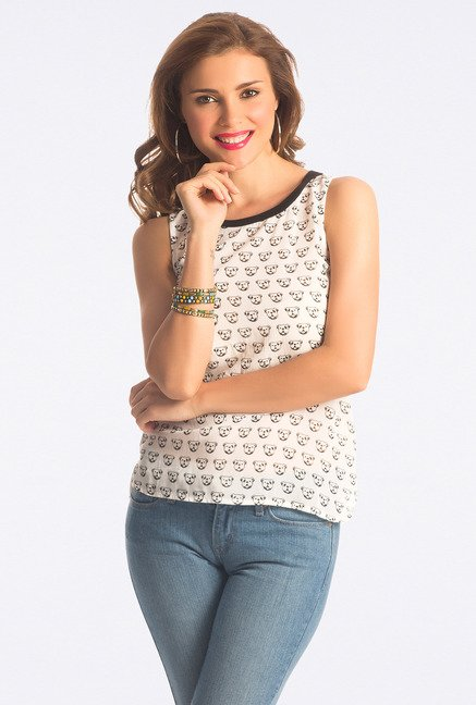 PrettySecrets White Printed Top
