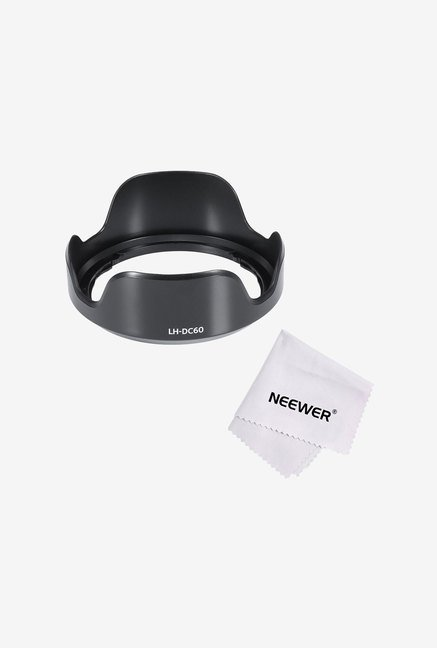 Neewer Camera Lens Hood + Microfiber Cleaning Cloth (Black)