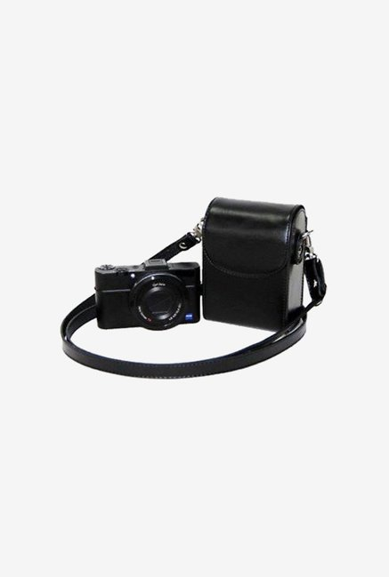 TechCare Leather Camera Case for Canon SX150is (Black)
