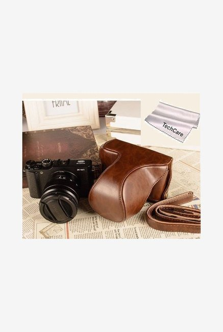 TechCare Leather Camera Case for Fujifilm X-M1 (Coffee)