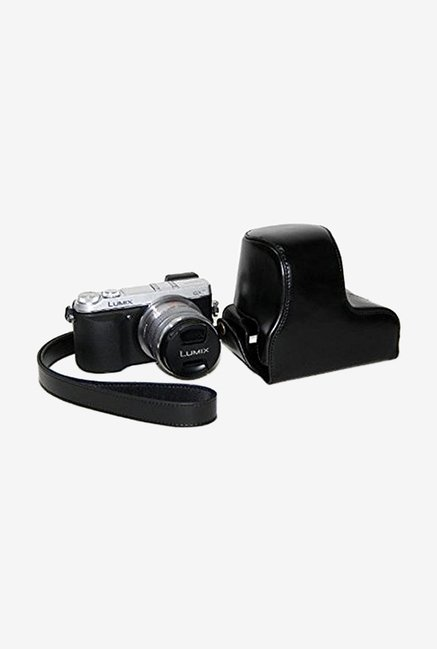 TechCare Leather Camera Case for Lumix DMC-GX7 (Black)