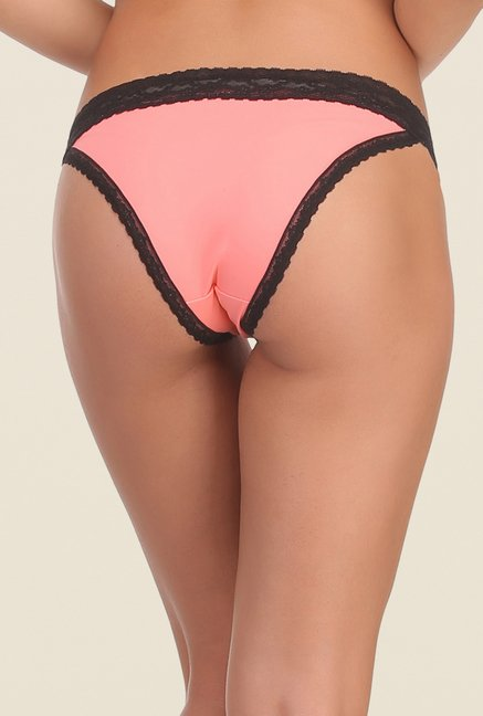 Clovia Black & Peach Lace Bikini Panty (Pack of 2)