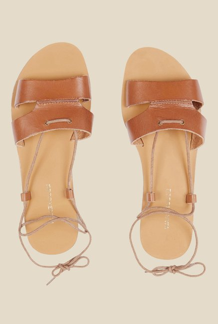 Warehouse Beige Ankle Strap Sandals