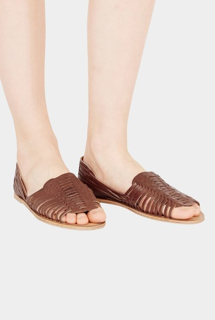 Warehouse Brown Sling Back Sandals
