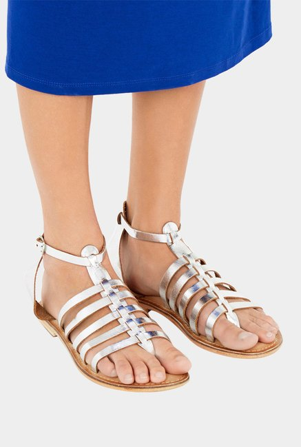 Warehouse Silver Gladiator Sandals