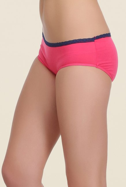 Clovia Pink & Turquoise Solid Hipster Panty (Pack of 2)