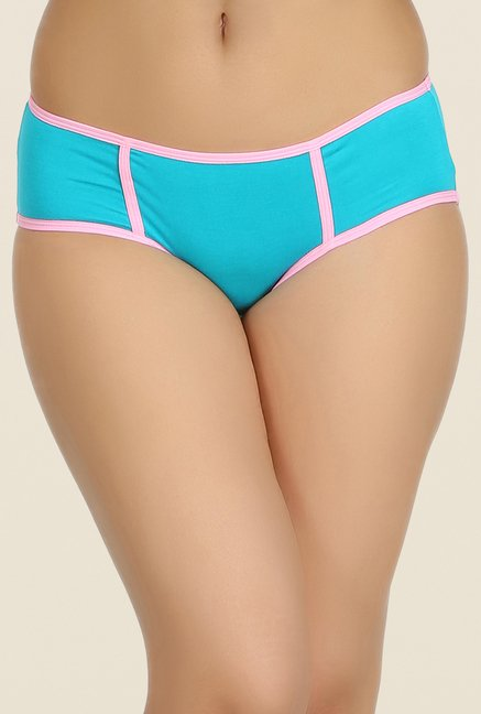 Clovia Turquoise & Green Solid Bikini Panty (Pack of 2)
