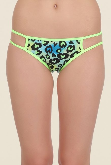 Clovia Pink & Green Printed Bikini Panty (Pack of 2)