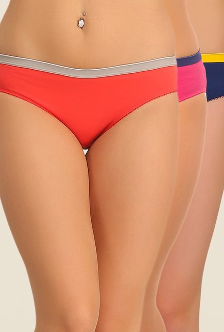 Clovia Coral, Pink & Navy Solid Bikini Panty (Pack of 3)