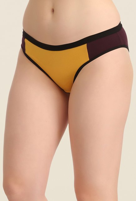Clovia Red, Brown & Green Solid Bikini Panty (Pack of 3)