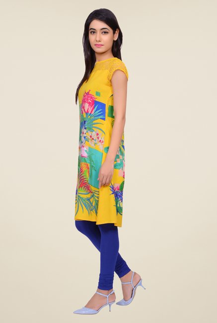 Juniper Yellow Floral Print Kurta