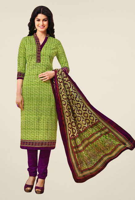 Salwar Studio Green & Purple Printed Dress Material