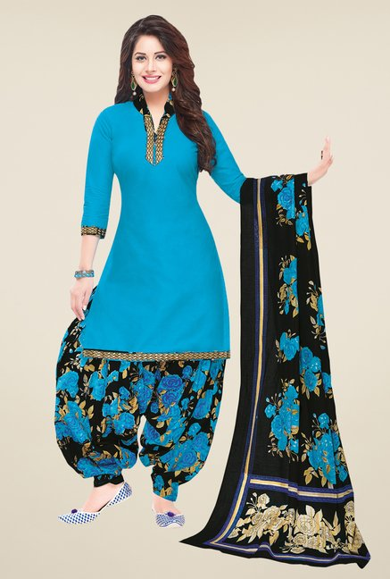 Salwar Studio Blue & Black Solid Dress Material