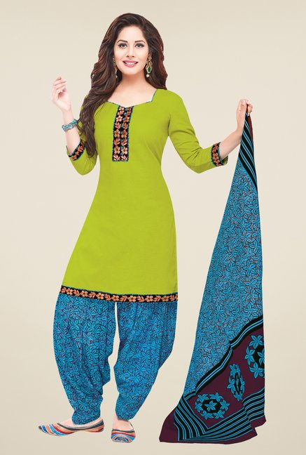 Salwar Studio Green & Blue Solid Dress Material