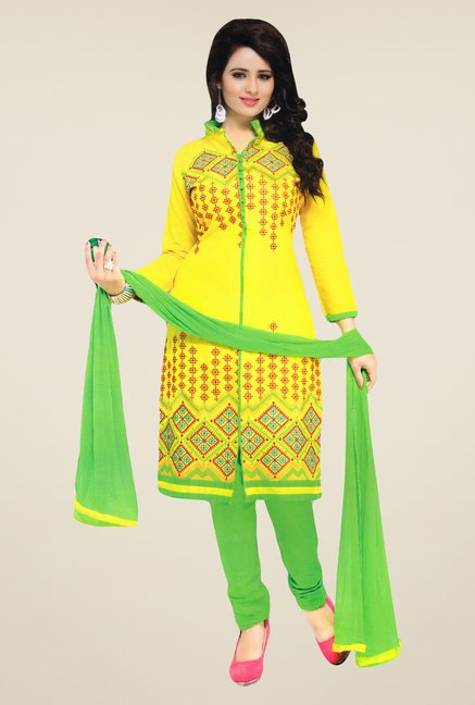 Salwar Studio Yellow & Green Embroidered Dress Material