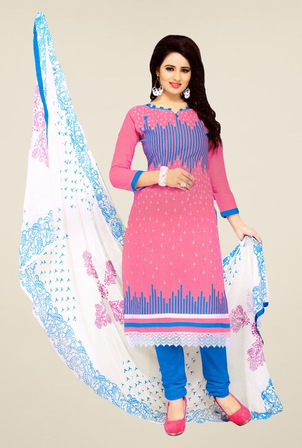 Salwar Studio Pink & Blue Embroidered Cotton Dress Material