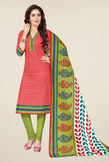 Salwar Studio Coral & Green Printed Dress Material