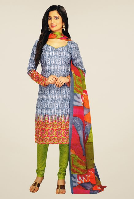 Salwar Studio Grey & Green Printed Dress Material
