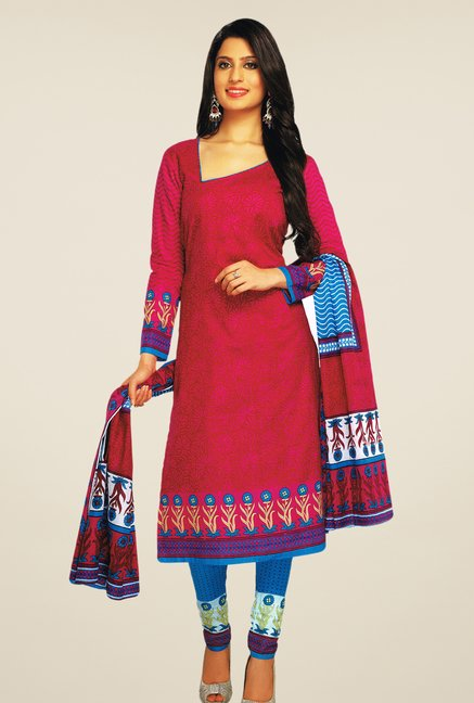 Salwar Studio Magenta & Blue Printed Dress Material