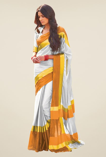 Salwar Studio Silver & Orange Solid Saree
